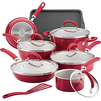 Rachael Ray 12147 Create Delicious Nonstick Cookware Pots and Pans Set, 13 Piece, Red Shimmer