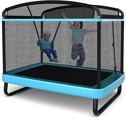 wholesale Giantex 6 Ft Kids Trampoline with Swing, ASTM Approved Indoor Mini Trampoline with Safety discount Enclosure Net, Built-in Zipper, Heavy Duty outlet online sale Baby Toddler Rectangle Trampoline, Max Load 220lbs outlet online sale