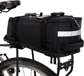 Mochila Resistente AL Agua Deluxe de BTR (Negra) para el portaequipajes Trasero con Correa para el Hombro integrada, Cinta Reflectante