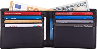 Mens Slim Pocket Bifold Soft Leather Travel Wallet With RFID Protection by DiLoro