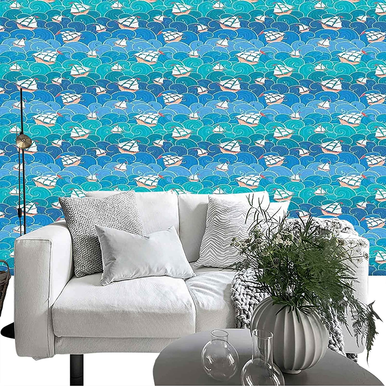 Wallpaper Limited time for free shipping Wall l Decor Ships Ranking TOP3 Transportation Waves Curly and Orna