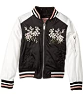 Urban Republic Kids - Satin Bomber with Chest Embroidery (Little Kids/Big Kids)