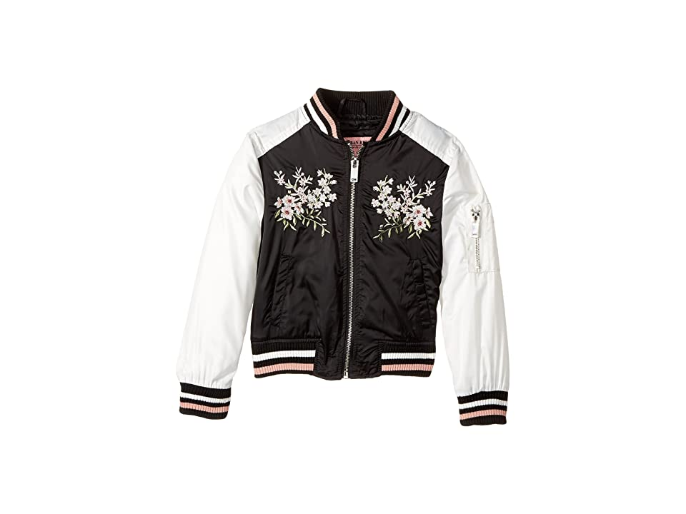 Urban Republic Kids Satin Bomber with Chest Embroidery (Little Kids/Big Kids) (Black) Girl