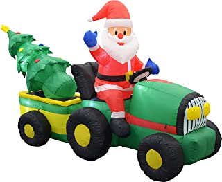 Sheerlund Products Large 9-Foot Santa on Tractor Tree, LED Lighted Self-Inflating Blow Up Outdoor Christmas Decoration, 9' x 4' x 5', Green
