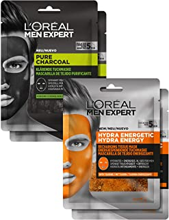"""L""""Oréal Men Expert Maskenset, Pflegeset für Männer mit reinigenden und feuchtigkeitsspendenden Gesichtsmasken, aktiver Schutz gegen Pickel und Mitesser, 120 g"""