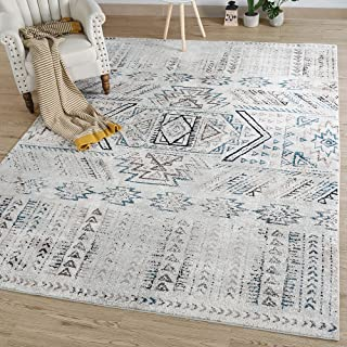 LNC A034562 Distressed 8' x 10' Mat Indoor Abstract Coastal Style Area Rug, 8'x10', Multicolor