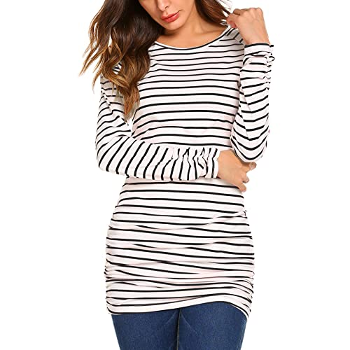 35b4bd7db68 OURS Womens Basic Slim Fit Long Sleeve Striped T Shirt Dress Ruched Tunic  Tops