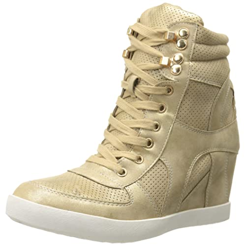 Top Moda Eric-9 Women s High Top Lace Up Fashion Sneaker Wedge - Gold Nub bd9c6738b