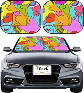 MSD Car Sun Shade Windshield Sunshade Universal Fit 2 Pack, Block Sun Glare, UV and Heat, Protect Car Interior, Image ID: 33829992 Abstract Background with cat and Dog