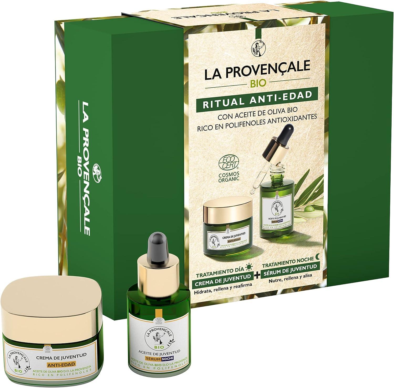 la Provençale Bio Pack Anti Edad Crema de Juventud 50Ml y Sérum de Noche 30Ml con Aceite de Oliva Bio Rico en Polifenoles Antioxidantes