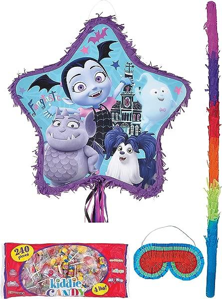 都市派对皮纳塔拉线 Vampirina 用品包括一个皮纳塔 Pinata 棒眼罩和月镑的糖果