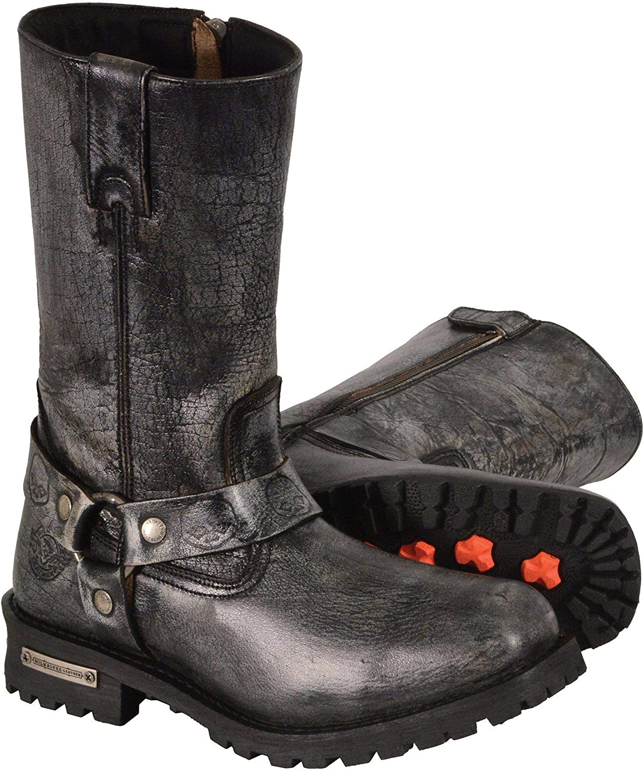 Black, Size 8.5W//9 Milwaukee Leather Mens Waterproof Boots with Gear Shift Protection