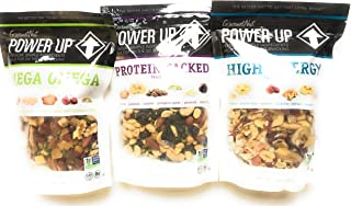 Power Up Trail Mix 100% Natural Variety 3 Pack (Mega Omega, Protein Packed, High Energy) 14 ounce each