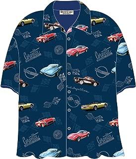 Corvette Cars Blue Hawaiian Camp Shirt by David Carey
