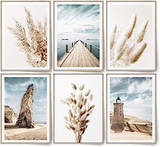 BLCKART Ensemble d'images Infinity beige Love Beach - Avec posters élégants recto-verso de l'herbe de la pampa - Décoratio...
