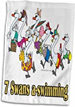 3D Rose Seven Swans A-Swimming Hand/Sports Towel, 15 x 22