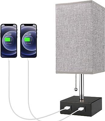 Lampe de Chevet, Lovebay Lampe de Table avec 2 Ports USB, 3 Niveaux de Luminosité RéGlables E27 Lampe de Chevet Moderne pour Chambre Table Salon Bureau, Grise