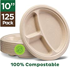 100% Compostable Paper Plates [10 inch - 125-Pack] 3 Compartment Disposable Plates Heavy-Duty Quality, Natural Bagasse Eco-Friendly Made of Sugar Cane & Wheat Straw Fibers, 10