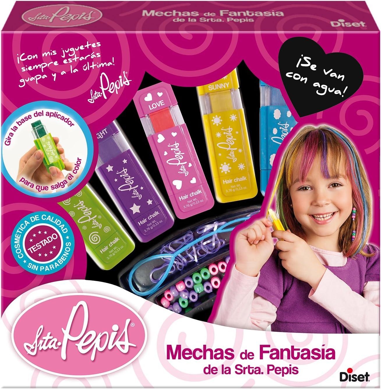 Diset - Mechas de fantasía de la Srta. Pepis - set de peinados a partir de 5 años