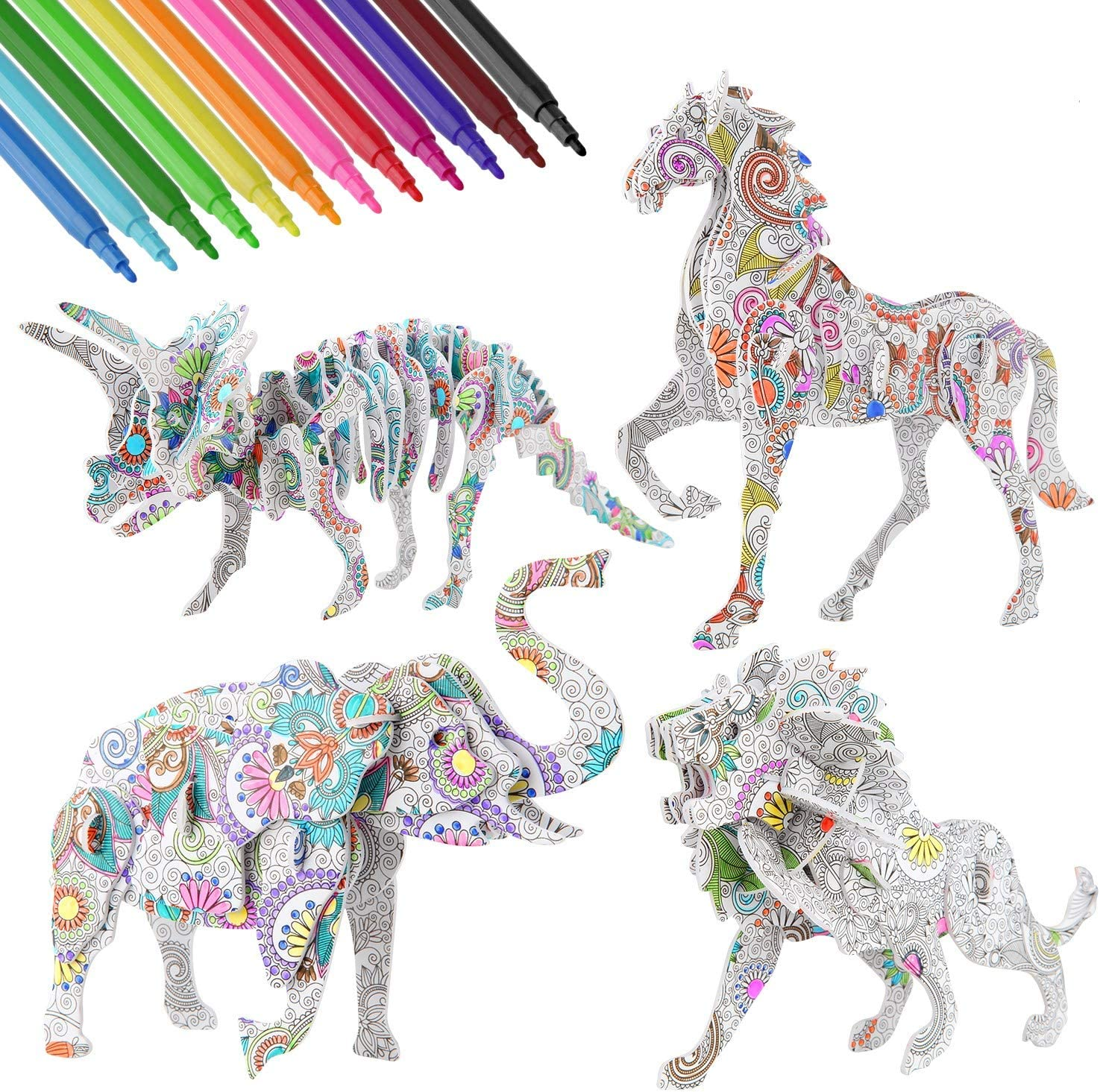 Bessmate 3D Coloring Puzzle Set, 4 Animals Painting Puzzles with 12 Pen Markers, Creativity DIY Gift for Boys Girls Age 8-12 Years Old Kids
