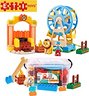 ETI Toys, 74 Piece Bublu Animal Circus Building Blocks. Build Carnival, Ferris Wheel, Sideshow Troupe. 100 Percent Non-Toxic, Creative Skills Development. Gift, Toy for 3, 4, 5 Year Old Boys and Girls