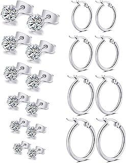Vegolita 10Pairs Stainless Steel CZ Stud Earrings for Women Girls Hoop Earrings Round Ear Piercing Set 3-8MM