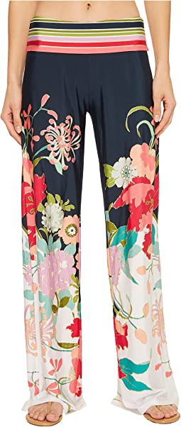 Trina Turk Royal Botanical Roll Top Pant Cover-Up