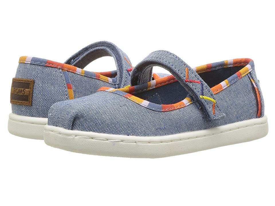 TOMS Kids Mary Jane (Infant/Toddler/Little Kid) (Blue Chambray/Multi Stripes) Girls Shoes