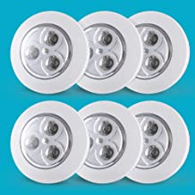 6-Pack Closet Push Light Battery Operated   Touch Lights  Led Lights for Closet  Tap Light  Push on Light, for Shoe Cabinet, Hallway, Cabinet, Wardrobe, Kitchen Locker(Not Batteries)