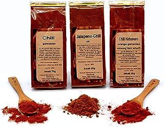 1001 BASAR Chili Gewürz Set   Chili Set   Chili Geschenkset   schärfste Chili der Welt   Gewürze Set  scharfe Gewürze   Gewürzset scharf   Chilipulver extrem scharf   Jalapeno   Habanero