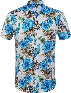 44e23b64 Hotouch Men's Hawaiian Aloha Shirt Short Sleeve Tropical Floral Print  Button Down Shirt
