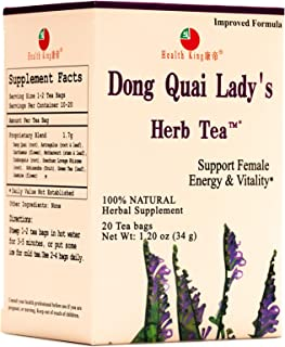 Dong Quai Lady's Herb Tea by Health King - Female Qi-Blood balance & Energy - ( 1 Pack, 20 Count, with Non-GMO, Vegan, Dan...