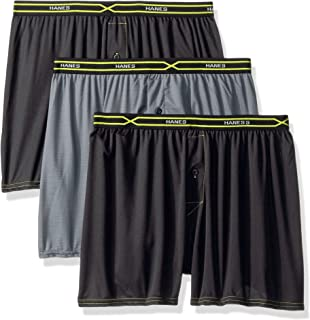 Hanes Mens 3-Pack X-Temp Performance Cool Checker Polyester Boxers Boxer Shorts