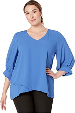 Plus Size Blouson Sleeve Crossover Top