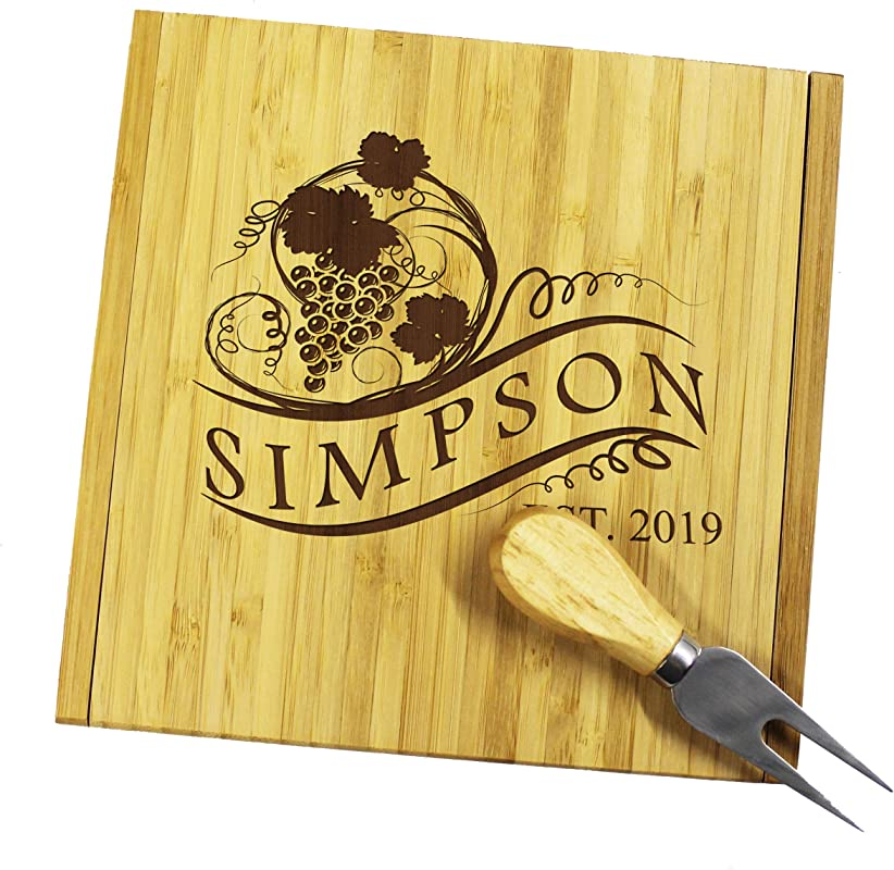 Personalized Engraved Cheese Board Tray And Knife Tools Set Custom Monogrammed For Free