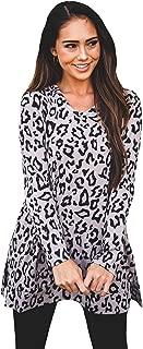 Tickled Teal Women's Long Sleeve Leopard Knit Casual Loose Sweater Outwear