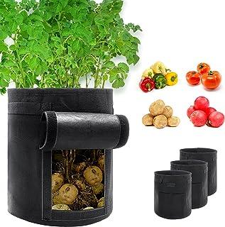 4-Pack 7 Gallon Potato Grow Bags Black Aeration Fabric Pots Vegetable Grow Bags Breathable Nonwoven Cloth for Potato Plant...