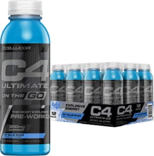 Cellucor C4 Ultimate On The Go Zero Sugar Pre Workout Drink, Energy Drink + beta Alanine, ICY Blue Razz, 11.66 Oz Bottles (Pack of 12)