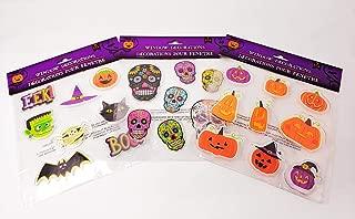 Halloween Gel Window Clings with Jack-o-Lanterns, Sugar Skulls, Bats, Cats, Hats and More!