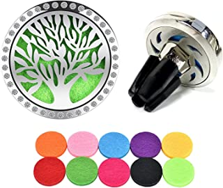 Essential Oil Diffuser Vent Clip with 10 Refill Pads,Horsky Car Air Vent Aromatherapy Fragrance Perfume Air Freshener Locket with Glass Diamonds 4 Stainless Steel Feet-Tree of Life (Tree of Life)