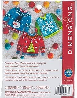 Dimensions 72-08289 Needlecrafts Felt Applique Christmas Sweater Ornament Craft Kit, 3 Pc