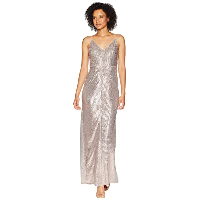 Adrianna Papell Long Sequin Gown (Rose Gold) Women