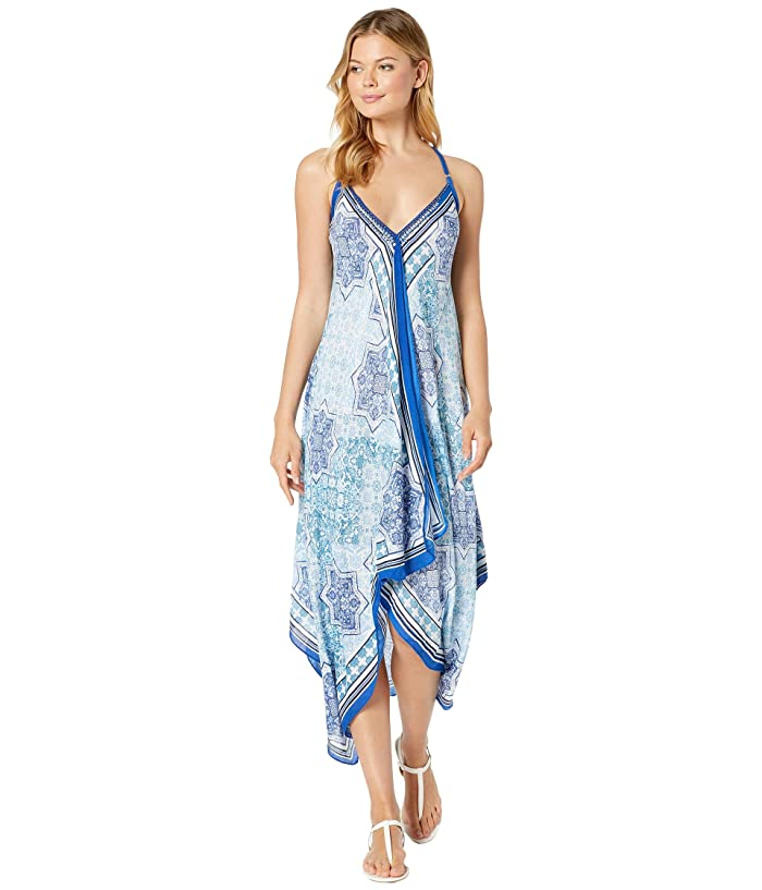 Vince Camuto Tile Ruffle Front Scarf Dress (Blue) Women