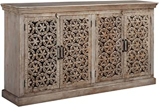 Ashley Furniture Signature Design - Fossil Ridge 4-Door Accent Cabinet - Contemporary - Hand Carved Medallion Pattern - Amber