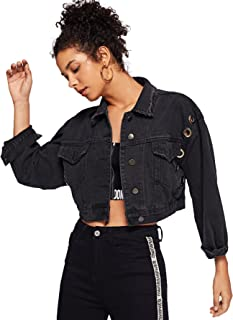 Women's Button up Casual Crop Boyfriend Denim Jean Jacket