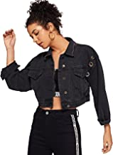 ROMWE Women's Button up Casual Crop Boyfriend Denim Jean Jacket