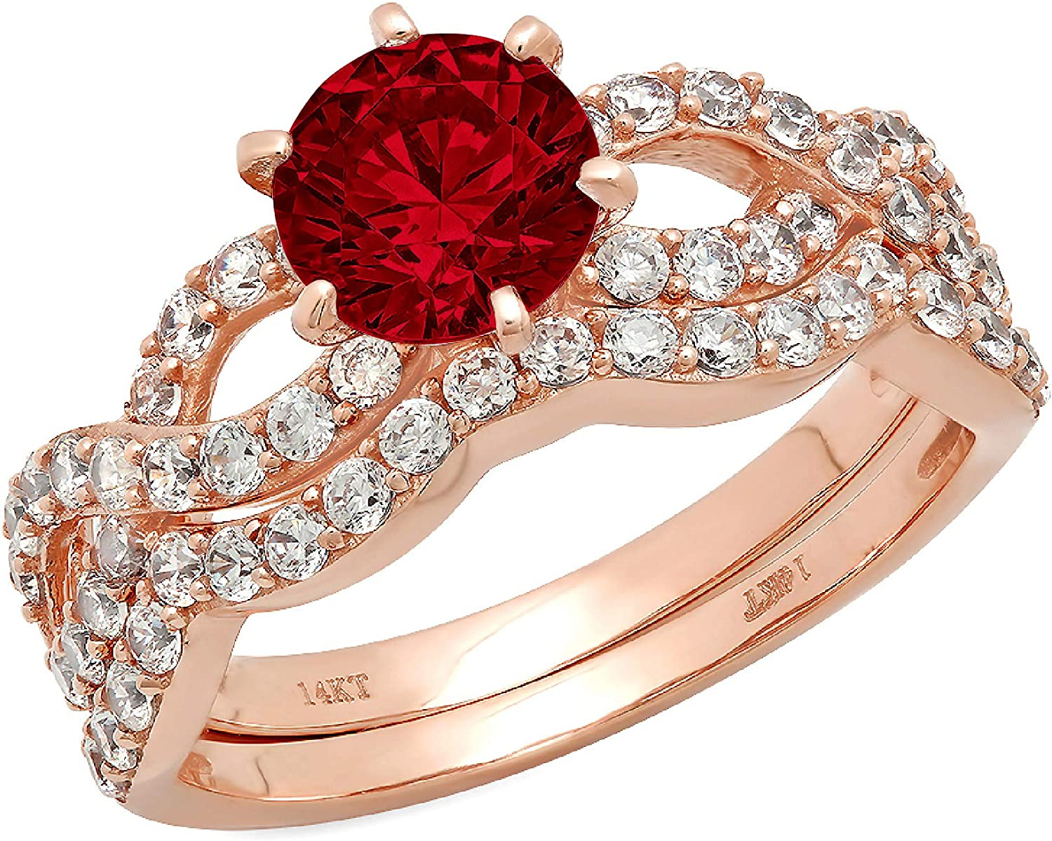1.55ct Round Cut Halo Pave Solitaire Split Shank Accent Natural Deep Pomegranate Dark Red Garnet Engagement Promise Statement Anniversary Bridal Wedding Ring Band set Curved Real 14k Rose Pink Gold