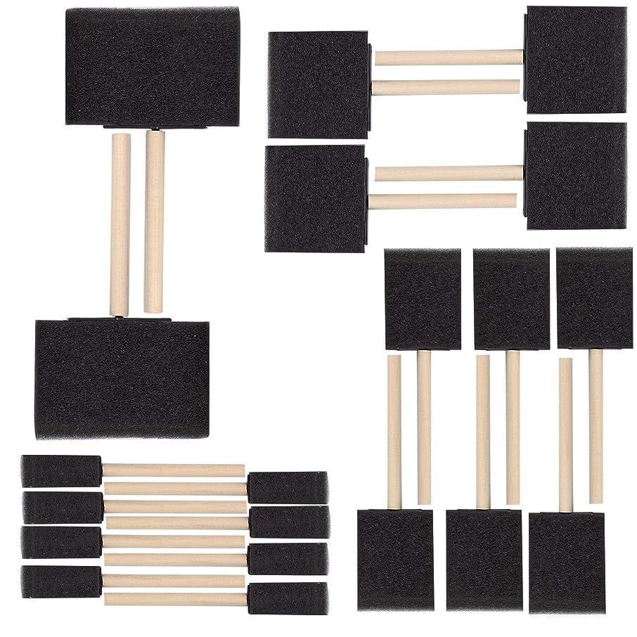 合併呼吸する車SteadMax フォームペイントブラシ10本セット 丈夫な木製ハンドル付き 再利用可能な使い捨てポリスポンジブラシ ペイント/ステイン/ニス用 フォームペイントアプリケーター アートやクラフトに最適 (10本セット) 2 Pack ブラック S-CH91142-2pk-fba