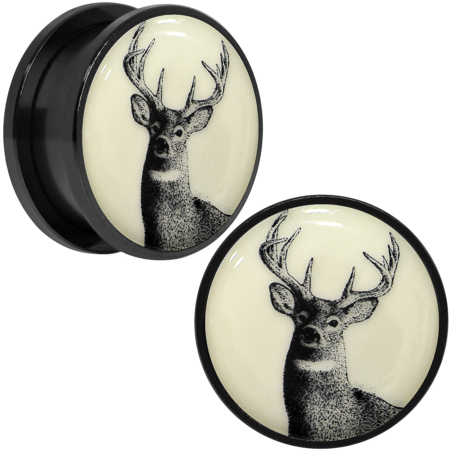 Body Candy Black Anodized Steel Buck Deer Glow in The Dark Screw Fit Ear Gauge Plug Pair 20mm