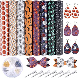 Caydo 8 Pieces Halloween Theme Faux Leather Sheet with Earring Hooks, Hair Clips for Making Halloween Hair Bows and Earrings (11.8 x 8.3 inch)